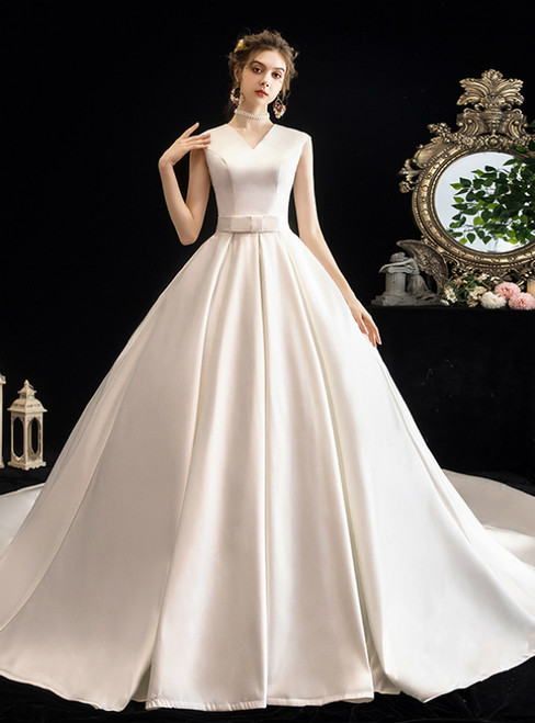 Simple White Ball Gown Satin V-neck Sleeveless Wedding Dress With Train