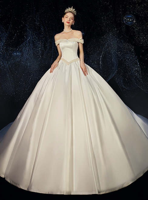 Ivory Ball Gown Satin Off the Shoulder Pearls Wedding Dress With Long Train