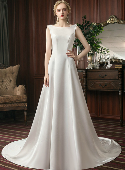 A-Line White Satin Backless Sleeveless Formal Wedding Dress
