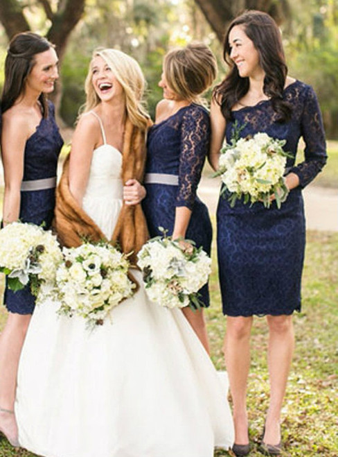 Elegant One Shoulder Long Sleeve Lace Navy Blue Knee Length Short Cheap Bridesmaid Dresses