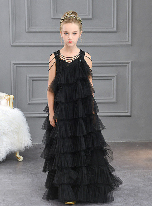 In Stock:Ship in 48 Hours Black Tulle Tiers Beading Flower Girl Dress