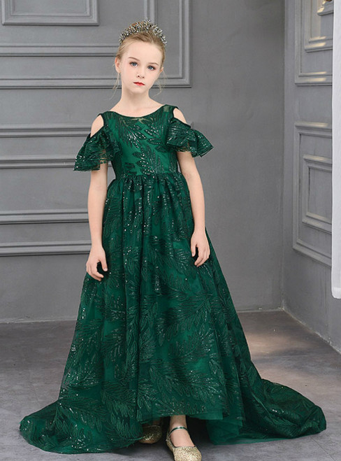 In Stock:Ship in 48 Hours A-Line Green Sequins Flower Girl Dress