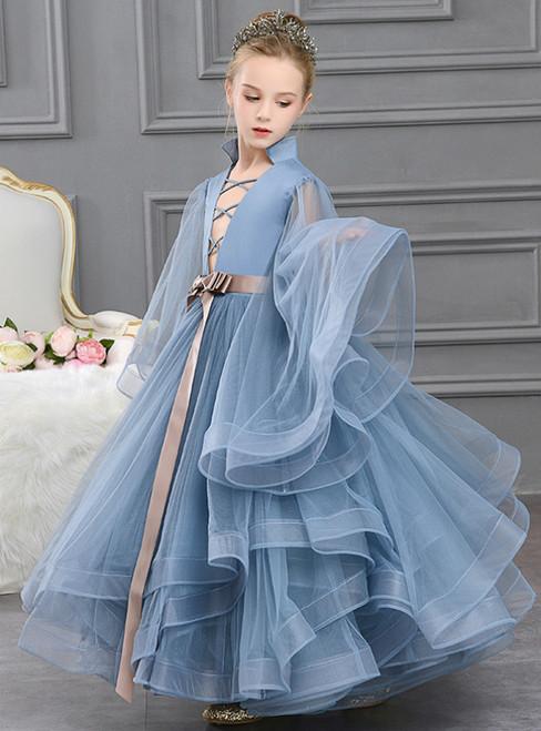 In Stock:Ship in 48 Hours Blue Ball Gown Tulle Deep V-neck Flower Girl