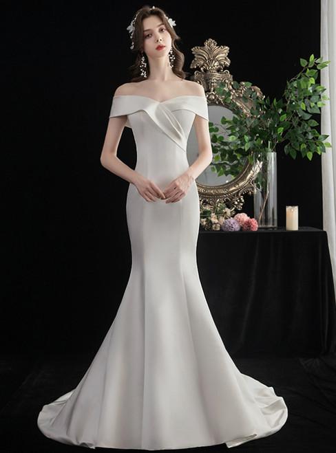 Simple White Mermaid Satin Off the Shoulder Wedding Dress