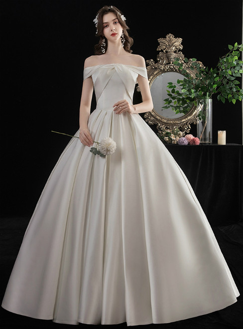 Simple White Ball Gown Satin Off the Shoulder Wedding Dress With Bow