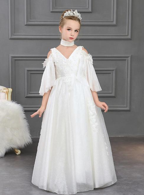 In Stock:Ship in 48 Hours A-Line White Tulle V-neck Appliques Flower Girl Dress