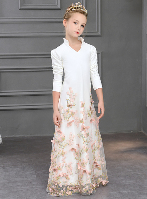 In Stock:Ship in 48 Hours White 3/4 Sleeve Butterfly Appliques Flower Girl Dress
