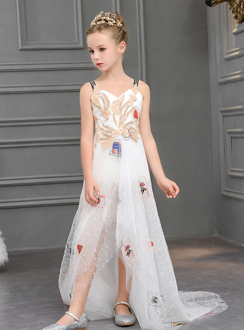 In Stock:Ship in 48 Hours  White Tulle Print Appliques Flower Girl Dress