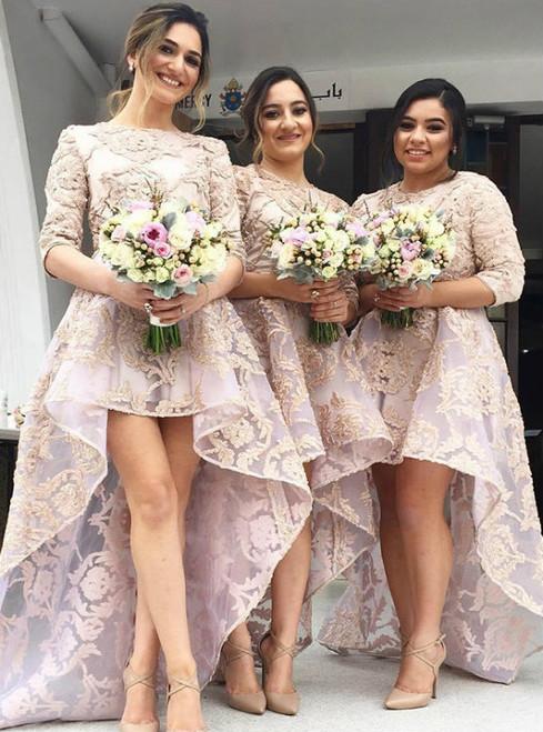 A-Line Bridesmaid Dresses Bateau Sweep Train 3/4 Sleeves Bridesmaid Dresses,High Low