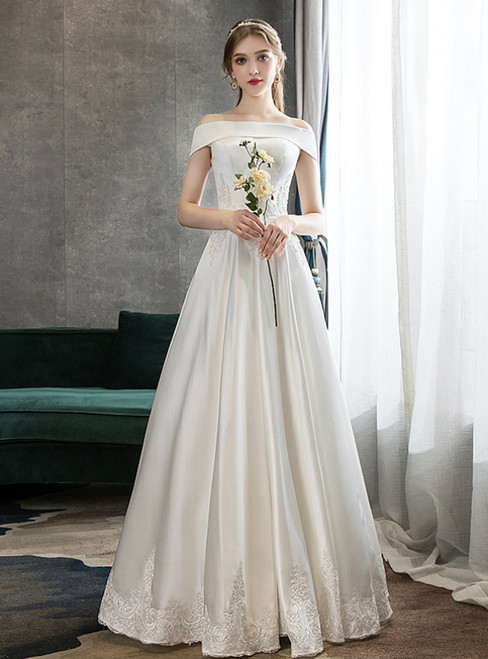 A-Line White Satin Off the Shoulder Lace Appliques Wedding Dress