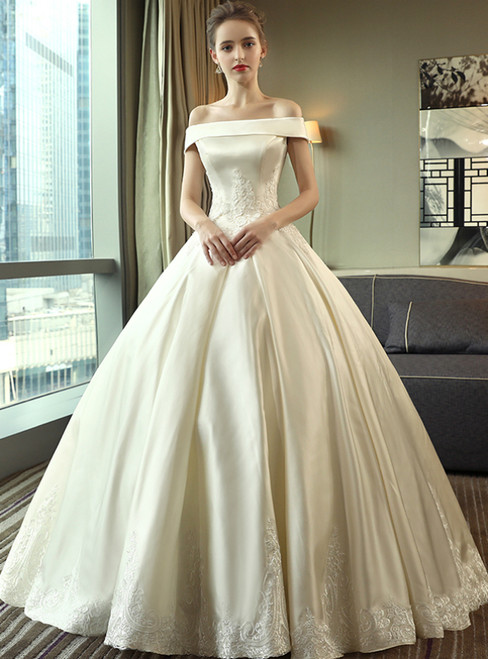 Ivory Satin Ball Gown Off the Shoulder Appliques Floor Length Wedding Dress