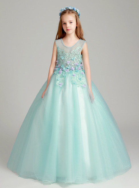 In Stock:Ship in 48 Hours Green Ball Gown Tulle Appliques Flower Girl Dress