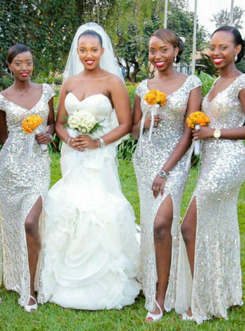 Silver Sequined Bridesmaid Dress Long Floor Length Mermaid vestido de festa de
