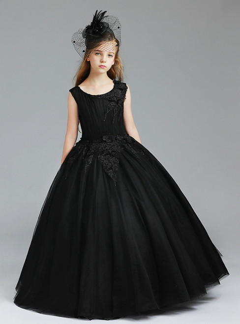 In Stock:Ship in 48 Hours Black Tulle Appliques Flower Girl Dress