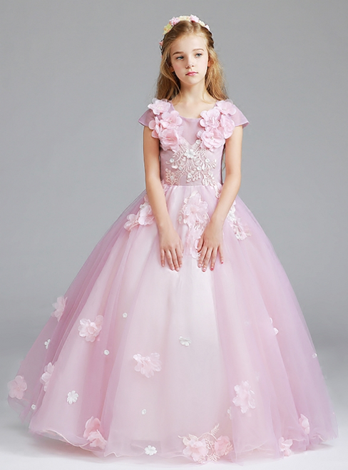 In Stock:Ship in 48 Hours A-Line Princess Pink Tulle Appliques Flower Girl Dress