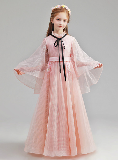 In Stock:Ship in 48 Hours Pink Tulle Flower Girl Dress With Bow