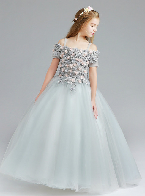 In Stock:Ship in 48 Hours Gray Tulle Appliques Spagehtti Straps Flower Girl Dress