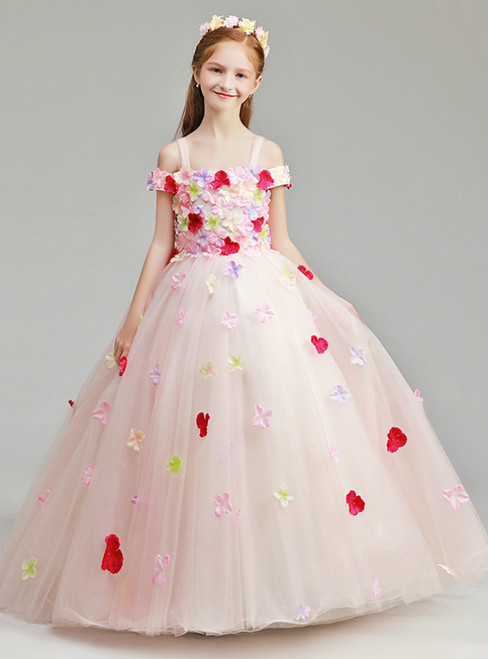 In Stock:Ship in 48 Hours Pink Spagehtti Straps Tulle Appliques Flower Girl Dress