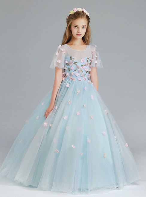 In Stock:Ship in 48 Hours Blue Ball Gown Appliques Flower Girl Dress