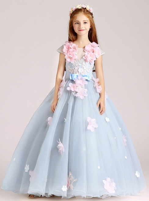 In Stock:Ship in 48 Hours Blue Tulle Appliques Cap Sleeve Flower Girl Dress