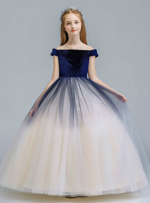 In Stock:Ship in 48 Hours Blue Tulle Off the Shoulder Flower Girl Dress