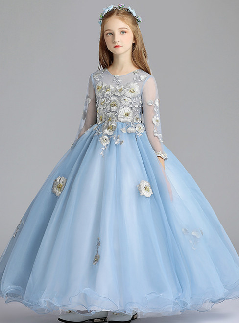 In Stock:Ship in 48 Hours Blue Tulle Appliques Long Sleeve Flower Girl Dress