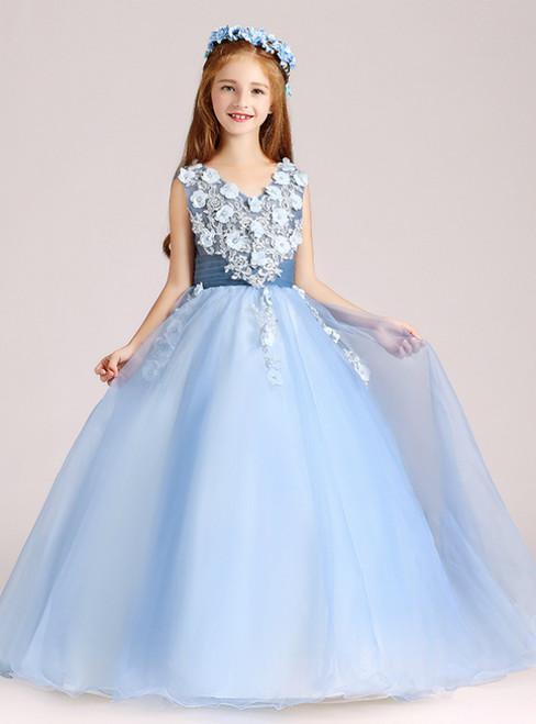 In Stock:Ship in 48 Hours Blue Tulle V-neck Appliques Flower Girl Dress