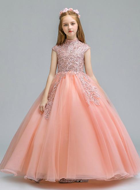 In Stock:Ship in 48 Hours  Orange Tulle Cap Sleeve Appliques Flower Girl Dress