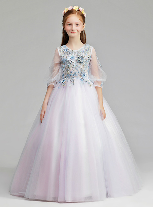 In Stock:Ship in 48 Hours  Light Purple Tulle Half Sleeve Flower Girl Dress