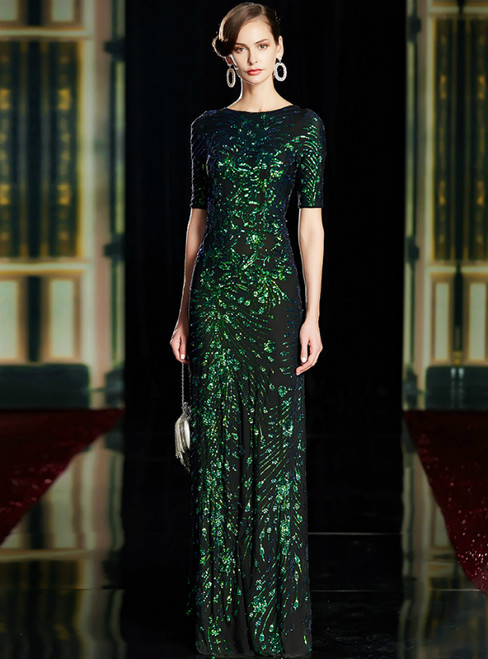 Green Sheath Sequins Short Sleeve Mother of the Bride Dresses