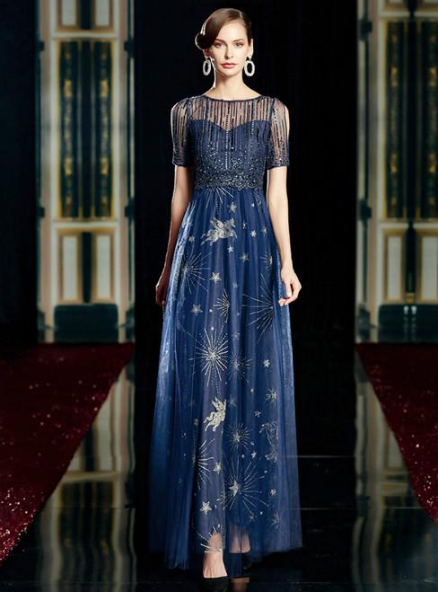 A-Line Dark Blue Tulle Sequins Short Sleeve Mother of the Bride Dress