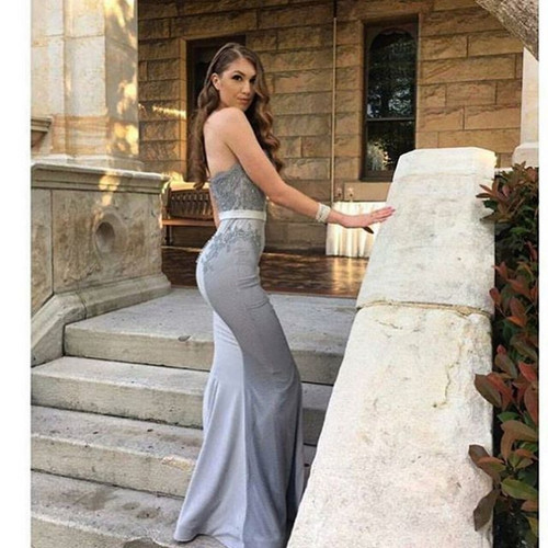 Strapless Mermaid Long Grey Prom Dress Bridesmaid Dress