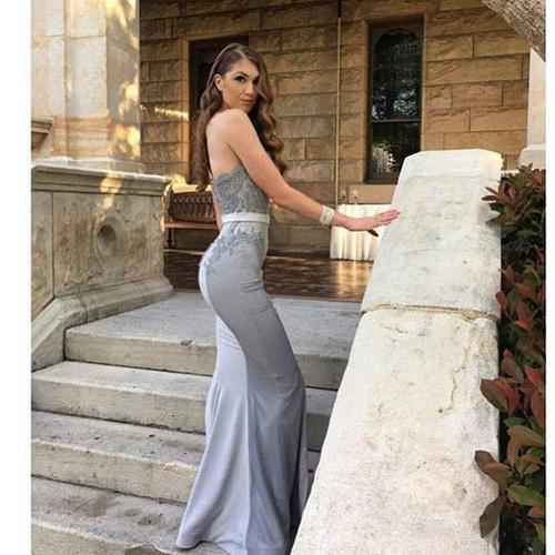 Strapless Mermaid Long Grey Prom Dress Bridesmaid Dress
