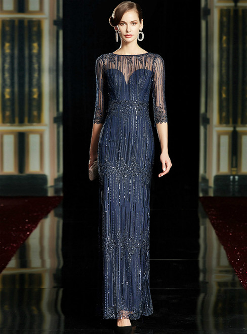 Navy Blue Tulle Sequins 3/4 Sleeve Mother of the Bride Dress