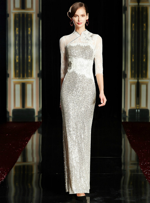 Silver White Sheath Sequins Half Sleeve Mother of the Bride Dress