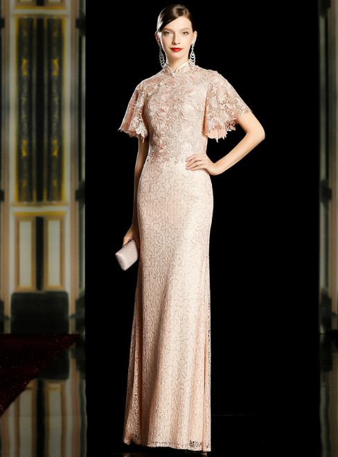 Pink Sheath Lace Sequins Long Mother of the Bride Dress