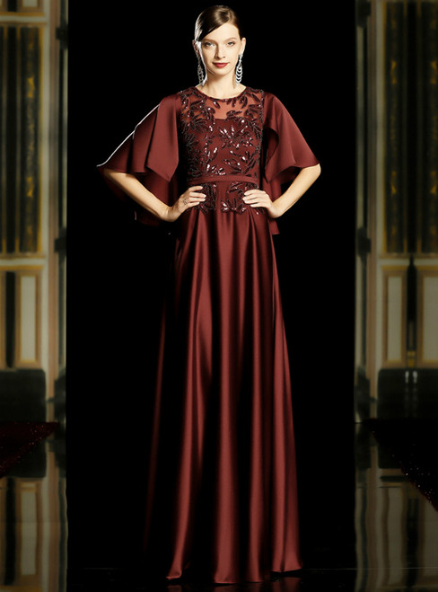A-Line Burgundy Satin Sequins Half Sleeve Mother of the Bride Dress