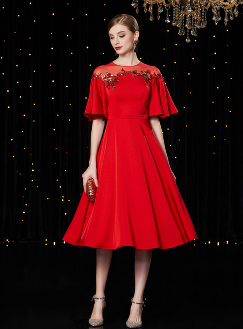 A-Line Red Satin Sequins Short Sleeve Mother Of The Bride Dress