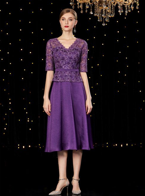 A-Line Purple Satin Lace V-neck Short Sleeve Mother of the Bride Dress