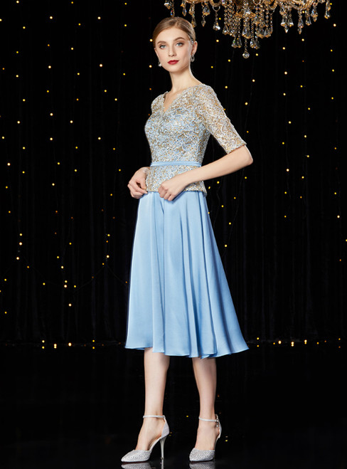 A-Line Blue Satin Lace V-neck Short Sleeve Mother of the Bride Dress