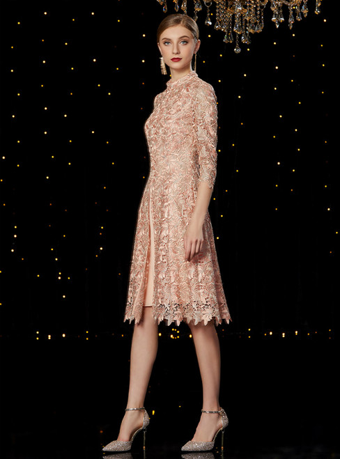 A-Line Champagne Lace 3/4 Sleeve Mother of the Bride Dress