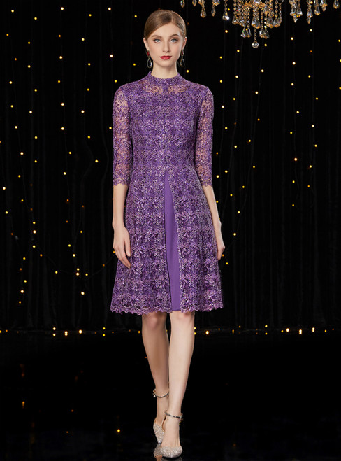 A-Line Purple Lace 3/4 Sleeve Short Mother of the Bride Dress