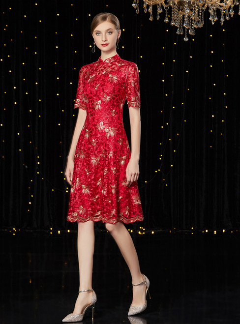 A-Line Burgundy Lave Short Sleeve Mother of the Bride Dress