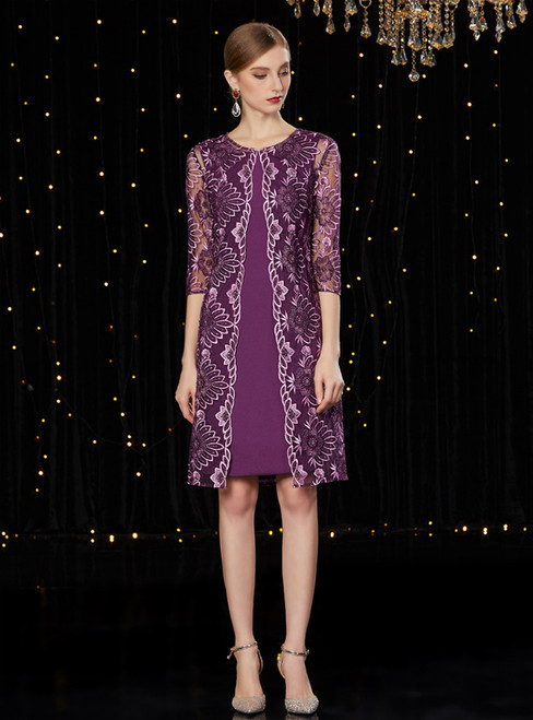 A-Line Purple Satin Short Mother of the Bride Dress With Jacket