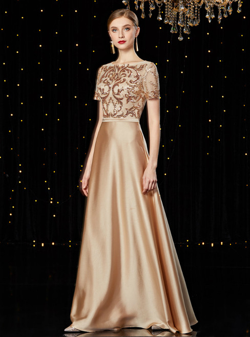 A-Line Champagne Satin Sequins Long Mother of the Bride Dress