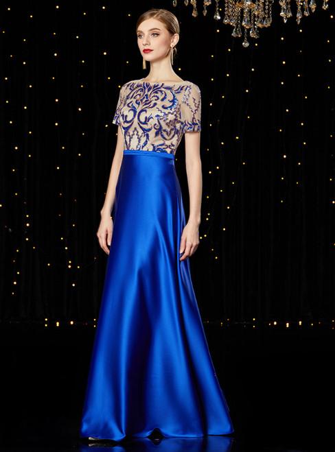 A-Line Blue Satin Sequins Long Mother of the Bride Dress