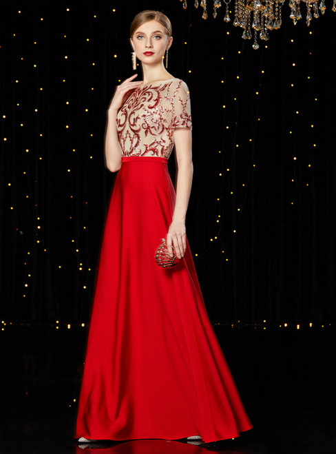A-Line Red Satin Sequins Long Mother of the Bride Dress