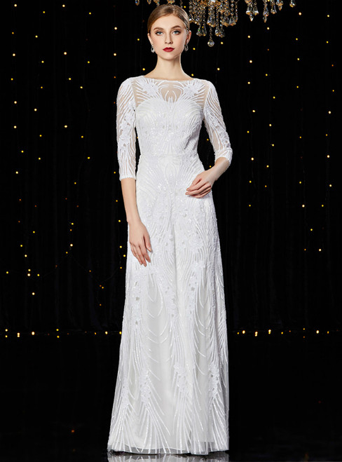 A-Line White Tulle Sequins 3/4 Sleeve Mother of the Bride Dress