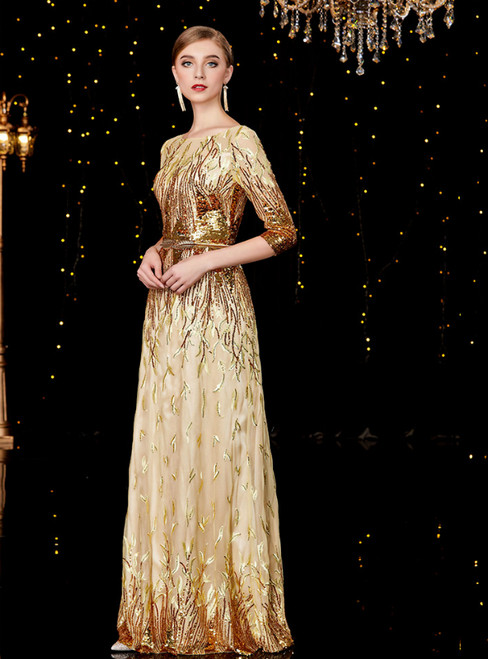 A-Line Gold Tulle Sequins 3/4 Short Sleeve Mother of the Bride Dress