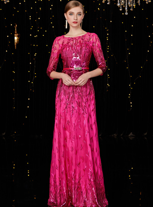 A-Line Fuchsia Tulle Sequins 3/4 Short Sleeve Mother of the Bride Dress